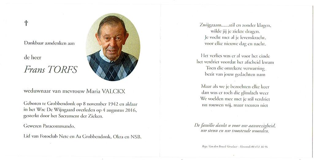 Ter nagedachtenis van Frans Torfs