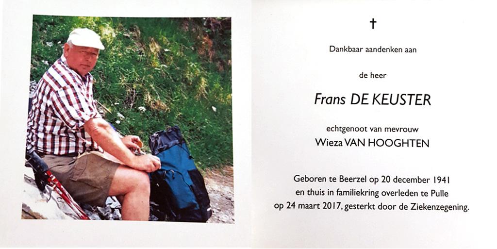 Ter nagedachtenis: Frans De Keuster